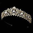 Elegance by Carbonneau HP-8271-GoldClear Gold Plated Bridal Tiara HP 8271