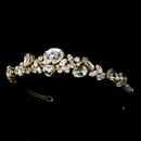 Elegance by Carbonneau HP-8314-Gold-Clear Gold Clear Plated Bridal Tiara HP 8314