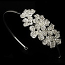 Elegance by Carbonneau HP-8349-S-Clear Silver Side Accenting Rhinestone Flower Cluster Bridal Headband - HP 8349