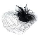 Elegance by Carbonneau HP-8366-Black Black Feather Swarovski Cocktail Party Hat & Birdcage Veil 8366