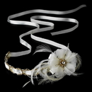 Elegance by Carbonneau HP-8531 Gold Accented Ivory Ribbon Bridal Headpiece HP 8531 (Silver or Gold)