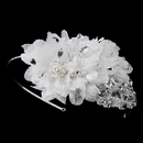 Elegance by Carbonneau HP-937-AS-Ivory Silver Rhinestone Ivory Applique Headband HP 937