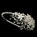 Elegance by Carbonneau HP-9616-S-FW Freshwater Pearl Crystal & Rhinestone Flower Side Accented Headband in Silver 9616