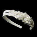 Elegance by Carbonneau HP-962-Ivory Bugle Bead, Pearl & Rhinestone Double Side Accented Floral Headband 962