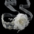 Elegance by Carbonneau HP-9668-Ivory Elegant Light Ivory Ribbon Flower Headband or Bridal Belt Accessory 9668