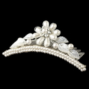 Elegance by Carbonneau HP-C-854-S-WH Child's Silver White Pearl Flower Headpiece 854 w/ Leaves