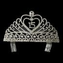 Elegance by Carbonneau HP-262 Precious Rhinestone Heart Covered Swirl Quincea?era Headpiece in Silver 262