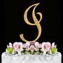 Elegance by Carbonneau I-Sparkle-Gold Sparkle ~ Swarovski Crystal Wedding Cake Topper ~ Gold Letter I