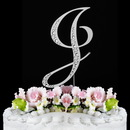 Elegance by Carbonneau J-Sparkle-Silver Sparkle ~ Swarovski Crystal Wedding Cake Topper ~ Silver Letter J