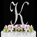 Elegance by Carbonneau K-Sparkle-Silver Sparkle ~ Swarovski Crystal Wedding Cake Topper ~ Silver Letter K
