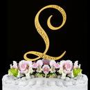 Elegance by Carbonneau L-Sparkle-Gold Sparkle ~ Swarovski Crystal Wedding Cake Topper ~ Gold Letter L