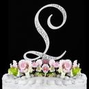 Elegance by Carbonneau L-Sparkle-Silver Sparkle ~ Swarovski Crystal Wedding Cake Topper ~ Silver Letter L