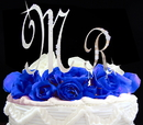Elegance by Carbonneau M-Large-R-Small-French-Flower French Flower ~ Mr Crystal Initial Cake Topper Set