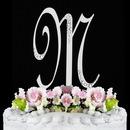 Elegance by Carbonneau M-Sparkle-Silver Sparkle ~ Swarovski Crystal Wedding Cake Topper ~ Silver Letter M