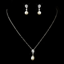Elegance by Carbonneau N-2501-E-3889-AS-Ivory Antique Silver Pearl CZ Necklace 2501 & Earrings 3889 Jewelry Set