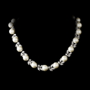 Elegance by Carbonneau N-2592-AS-Ivory Eye-Catching Floral Vine-Like CZ Necklace 2592 Silver Pearl