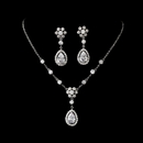 Elegance by Carbonneau N-2724-E-3091-Silver-Clear Necklace Earring Set N 2724 E 3091 Silver Clear