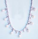 Elegance by Carbonneau N-3842-Silver-Pearl Elegant Antique Silver Clear CZ & Pearl Necklace N 3842