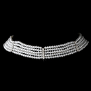 Elegance by Carbonneau N-602-Silver-White 5 Row Choker Pearl Necklace N 602 Silver White