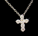 Elegance by Carbonneau N-8113 Charming Silver Clear CZ Holy Cross Necklace 8113