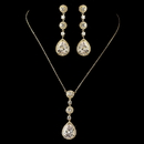 Elegance by Carbonneau N-8623-E-8676-G-CL Gold Clear Round & Teardrop CZ Crystal Necklace 8623 & Earrings 8676 Jewelry Set