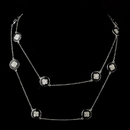 Elegance by Carbonneau Black Stone with Silver and Crystal Necklace 8728