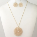 Elegance by Carbonneau N-9510-E-9510-G-Peach Silver Pink Round Faceted Glass Crystal Jewelry Set 9510