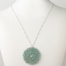 Elegance by Carbonneau N-9510-S-TUR Silver Turquoise Round Faceted Glass Crystal Necklace 9510