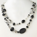 Elegance by Carbonneau N-9525-S-Black Silver Black & Hematite Faceted Glass Crystal Fashion Necklace 9525