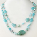 Elegance by Carbonneau N-9525-S-Turquoise Silver Blue Faceted Glass Crystal Fashion Necklace 9525