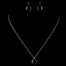 Elegance by Carbonneau N-9600-E-9600-G-Black Gold Black Round CZ Crystal Jewelry Set 9600