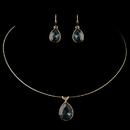 Elegance by Carbonneau N-9604-E-9602-G-Navy Gold Navy Teardrop CZ Crystal Necklace 9604 & Earrings 9602 Jewelry Set