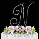 Elegance by Carbonneau N-Renaissance-Silver Renaissance ~ Swarovski Crystal Wedding Cake Topper ~ Silver Letter N