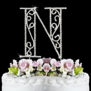 Elegance by Carbonneau N-Roman Romanesque ~ Swarovski Crystal Wedding Cake Topper ~ Letter N