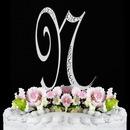 Elegance by Carbonneau N-Sparkle-Silver Sparkle ~ Swarovski Crystal Wedding Cake Topper ~ Silver Letter N