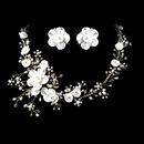 Elegance by Carbonneau NE-1015-G Beautiful Crystal, Porcelain & Pearl Bridal Jewelry Set NE 1015
