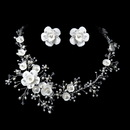 Elegance by Carbonneau NE-1015-S Beautiful Crystal, Porcelain & Pearl Bridal Jewelry Set NE 1015