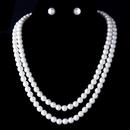 Elegance by Carbonneau NE-10769-Silver-White Necklace Earring Set 10769 Silver White