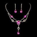 Elegance by Carbonneau NE-12054-S-Fuchsia Silver Clear & Fuchsia Rhinestone Necklace & Earrings Bridal Jewelry Set 12054