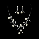 Elegance by Carbonneau NE-142-Silver-Ivory Necklace Earring Set 142 Silver Ivory