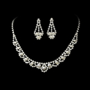 Elegance by Carbonneau NE-224 Fabulous Rhinestone Pearl Necklace & Earring Set 224 (Silver White or Gold Ivory)