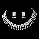 Elegance by Carbonneau NE-3095-Silver-Clear Necklace Earring Set 3095 Silver Clear