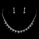Elegance by Carbonneau Silver Navy Rhinestone Necklace & Earrings Jewelry Set 3108