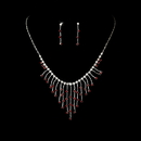 Elegance by Carbonneau NE-3126-Silver-Red Necklace Earring Set 3126 Silver Red