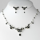Elegance by Carbonneau NE-3396-Silver-Black Necklace Earring Set NE 3396 Silver Black
