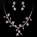 Elegance by Carbonneau NE-363-Silver-Pink Necklace Earring Set NE 363 Silver Pink