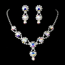 Elegance by Carbonneau NE-4362-AB Silver Necklace & Earring Set with Aurora Borealis Crystals and Clear Rhinestones 4362