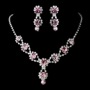 Elegance by Carbonneau NE-4362-Pink Silver Necklace & Earring Set with Light Rose Crystals and Clear Rhinestones 4362