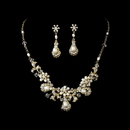 Elegance by Carbonneau NE-6291 Ravishing Gold Clear Crystal & Freshwater Pearl Necklace & Earring Set 6291