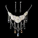 Elegance by Carbonneau NE-6507-Ab Silver AB Necklace Earring Set 6507